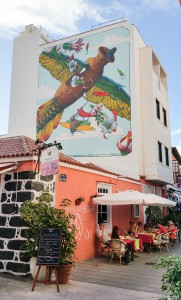 Puerto Street Art: Wandmalerei an der Calle del Lomo.