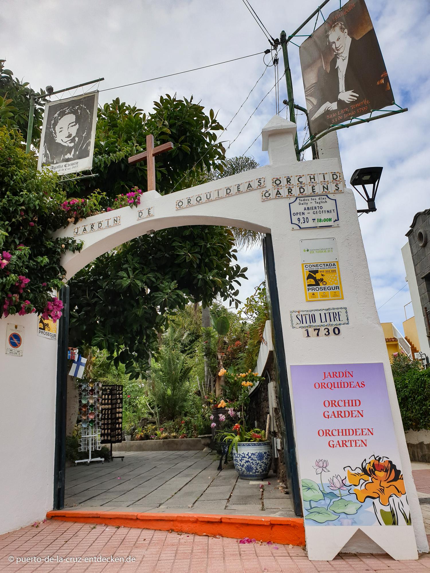 Eingang vom Sitio Litre: Der Orchideen-Garten ist täglich geöffnet.